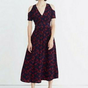 Madewell × no. 6 red & blue floralsilk dress